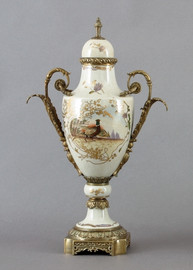 Pheasant on Display Pattern, Luxury Hand Painted Porcelain and Gilt Bronze Ormolu, 20 Inch Covered Urn