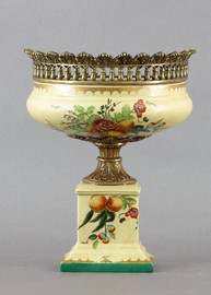 Flowers In Bloom Pattern, Luxury Hand Painted Porcelain and Gilt Bronze Ormolu, 14 Inch Pedestal Half Vase