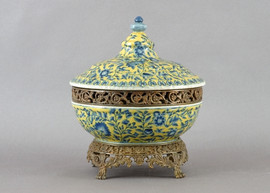 Blue Flowers Pattern - Luxury Hand Painted Porcelain and Gilt Bronze Ormolu - 16 Inch Covered Dish