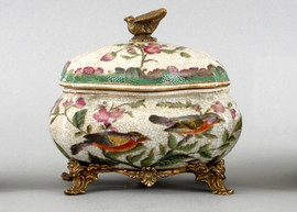 Aviary Elegance Pattern - Luxury Hand Painted Porcelain and Parcel Gilt Bronze Ormolu - 7 Inch Round Covered Decorative Box