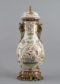 Regence Aviary Garden Pattern - Luxury Hand Painted Porcelain and Gilt Bronze Ormolu - 28 Inch Covered Jar