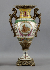 Heavenly Putti Pattern, Luxury Hand Painted Porcelain and Gilt Bronze Ormolu, 13.5 Inch Vase