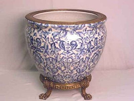 Blue and White Pattern, Luxury Hand Painted Porcelain and Gilt Bronze Ormolu, 14 Inch Fish Bowl Planter