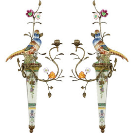 #A Spring Gardens Pattern - Luxury Hand Made Chinese Porcelain and Gilt Brass Ormolu - 30 Inch Taper Candle Holder Set, Wall Bracket Sconce Pair