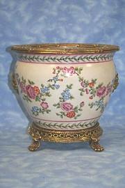 Petit Fleur Pattern, Luxury Hand Painted Porcelain and Gilt Bronze Ormolu, 10 Inch Fish Bowl Planter