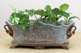 Celadon Toile Pattern, Luxury Hand Painted Porcelain and Parcel Gilt Bronze Ormolu, 16 Inch Rectangular Planter | 2828