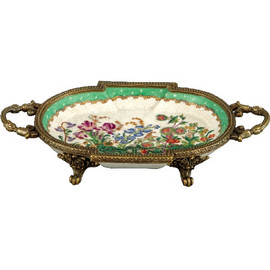 Spring Gardens Pattern, Luxury Hand Made Chinese Porcelain and Gilt Brass Ormolu, 1.5t X 8.25L X 4.5d, Small Oval Breakfront Tray | Dish
