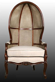 Hardwood Hand Carved and Cane Reproduction Louis XV Style - 58.5 Inch Accent | Hood Chair - Rich Wood Finish