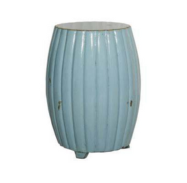 Chinese Hand Made, 21 Inch Drum | Barrel Stool, Accent Table, Distressed Aqua Finish