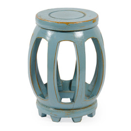 Chinese Hand Made, 18 Inch Drum | Barrel Stool, Accent Table, Crackle Aquamarine Finish