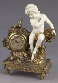 Grand Illusions Faux Bisque Porcelain, 15.5 Inch Mantel, Table Clock, Antique Gold Finish, 2817