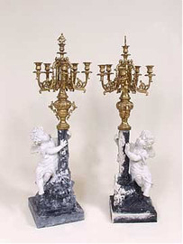 Grand Illusions Faux Bisque Porcelain, 42 Inch 5 Candle Candelabra Pair, Antique Gold Finish