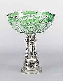 Raised Pedestal, 13.5 Inch 3 Figure Jewel Green Cut Crystal Scalloped Edge Compote | Compotier Dish, Silver Wash Finish