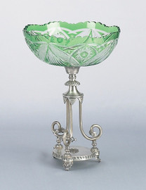 Raised Tripod Scroll Pedestal, 13 Inch Scalloped Edge Jewel Green Cut Crystal Compote | Compotier Dish, Silver Wash Finish