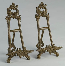 Louis XV Rococo Style Cast Iron, 13.5 Inch Pair Counter | Tabletop Book Easels, Rust Finish