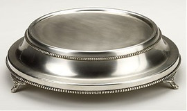 Tapered and Footed, 15 Inch Beaded Edge Cake Stand | Display, Silver Finish
