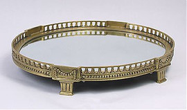 """Oval Footed Gallery Tray, Mirror Bottom, Antique Brass Finish, 18""""W X 15""""D X 3""""T, 2805"""