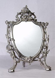 """Classic Floral Vine - 13"""" Shield Shape Vanity, Dressing Table Mirror - Pewter Finish, 2801"""