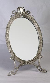 """Classic Laurel Leaf - 13.5"""" Oval Shaped Vanity, Dressing Table Mirror - Pewter Finish, 2800"""