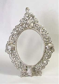 """Coat of Arms - 16"""" Oval Shaped Vanity, Dressing Table Mirror - Pewter Finish, 2799"""