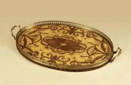 Ash Burl Wood Marquetry - Oval 31 Inch Serving Tray - Antique Brass Finish