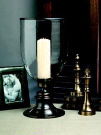 Brass - 21 Inch Hurricane Lamp - Bronze Finish