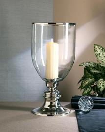 Brass, 21 Inch Hurricane Lamp, Nickel Finish