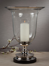 Brass, 18 Inch Hurricane Lamp with Marble Base, Nickel Finish