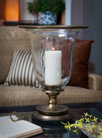 Brass, 18 Inch Hurricane Lamp with Marble Base, Antique Brass Finish