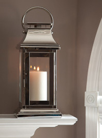 Brass, 16 Inch Lantern, Nickel Finish