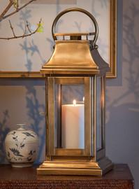 Brass, 16 Inch Lantern, Antique Brass Finish