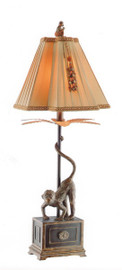 A Playful Monkey on a Plinth - Tabletop Candlestick Lamp - 36.75 Inch Buffet Lamp with Breakfront Shade
