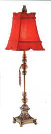 A Chinese Red and Gold - Tabletop Candlestick Lamp - 34.5 Inch Buffet Lamp with Tapered Serpentine Shade