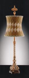 A Fleur De Lis - Crosshatch Fleur de Lys, Tabletop Candlestick Lamp - 40.5 Inch Buffet Lamp with Concave Pleated Shade