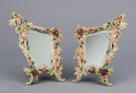 """Meissen Style Tabletop Set, 15""""t X 10.5""""w X 10.5""""d, Porcelain Beveled Glass, Right and Left Mirror Pair, 2689"""