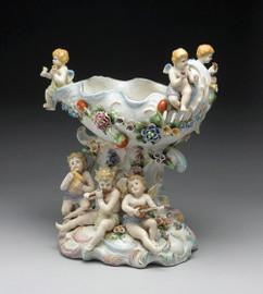 Meissen Style Tabletop, 13t x 11L x 7.5d Porcelain Compotier | Pedestal Cassolette Urn - Vase | Raised Bowl
