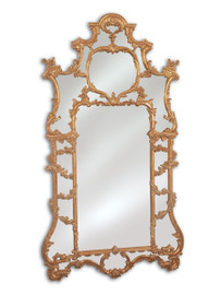 Hand Carved Italy - 87 Inch Oversized Baroque Mirror - Gold with Reddish Brown Umber Highlights