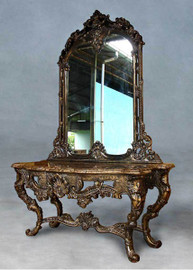 French Baroque Louis XIV Style - 110 Inch Marble Topped Entry Console and Mirror - Natural Wood Finish