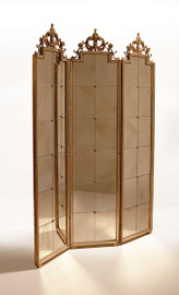 """#Luxe Life Venetian Mirror Glass - Three Panel 87"""" Room Divider, Dressing Screen - Antique Gold Finish, 2612"""