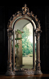 Standing Hand Carved - Oversized Arch Floor Mirror - Palace Size 103 Inch - Silver and Fruitwood Finish