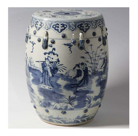 Finely Finished Ceramic Garden Stool, 17 Inch, Classic Blue and White 8 Immortals Design