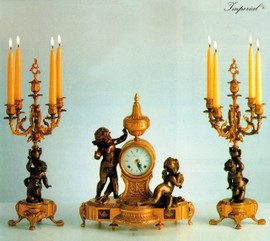 Antique Style French Louis Garniture, Handmade Reproduction Italian Gilt Brass Ormolu Mantel, Table Clock And Five Light Candelabra Set, French Gold Finish, Handmade Reproduction of a 17th, 18th Century Dore Bronze Antique, 2604