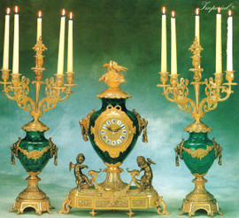 339 Antique Style French Louis Gilt Brass Ormolu Garniture, Verde Delle Alpi Marble Mantel, Table Clock And Six Light Candelabra Set, French Gold Finish, Handmade Reproduction of a 17th, 18th Century Dore Bronze Antique