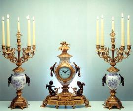 """24101 Porcelain 23"""" Candelabra and 21"""" Clock - Bespoke"""