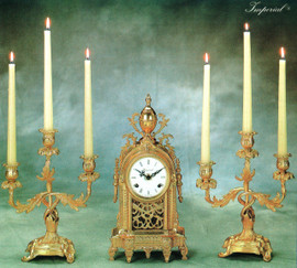 Antique Style French Louis Garniture - Gilt Brass Ormolu Mantel, Table Clock And Three Light Candelabra Set, French Gold Finish, Handmade Reproduction of a 17th, 18th Century Dore Bronze Antique, 2601