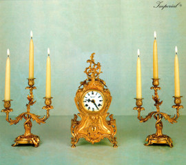 "Antique Style French Louis Garniture, Brass Ormolu, Louis XV, Rococo Mantel, Table Clock And 11"" Three Light Candelabra Set, French Gold Gilt Patina, Handmade Reproduction of a 17th, 18th Century Dore Bronze Antique, 2600"