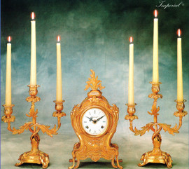 """Antique Style French Louis Garniture, Brass Ormolu Mantel, Table Clock And 11.02"""" Three Light Candelabra Set, French Gold Gilt Patina, Handmade Reproduction of a 17th, 18th Century Dore Bronze Antique, 2599"""