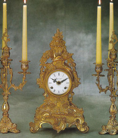 """Fancy Gilt Brass Ormolu 14.96"""" Mantel, Table Clock - French Gold Finish - Handmade Reproduction of a 17th, 18th Century Dore Bronze Antique, 2598"""