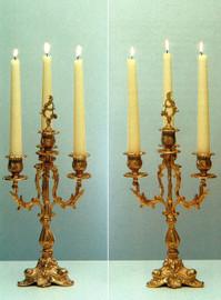 Gilt Brass Ormolu, Four light Candelabra Set, French Gold Finish - Handmade Reproduction of a 17th, 18th Century Dore Bronze Antique, 2597