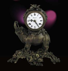 Fancy d'Oro Ormolu - Desk, Shelf, Mantel Clock - Elephant Theme - Choose Your Finish - Handmade Reproduction of a 17th, 18th Century Dore Bronze Antique, 2596
